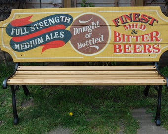 Unique vintage pub advertising sign garden bench