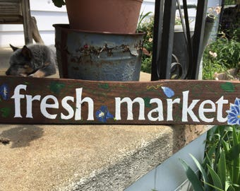Fresh Market wooden sign