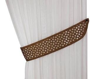 Curtain tiebacks, Laser cutting ties, Drapery tiebacks, Curtain decor, Home decor, Tie backs, Perforated decor, Unusual curtain tie back