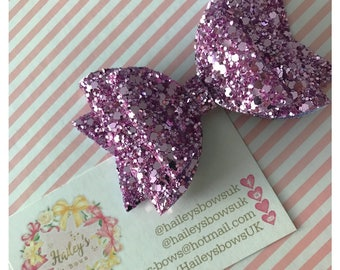 Lilac Chunky glitter hair bow purple hair clip wedding headband christening sparkles
