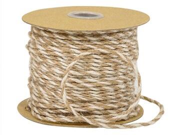 "White & Natural Tan Twine  1/8"" x 25yds Jute Burlap 3-ply Twine , gift wrap, favors, farmhouse wedding"
