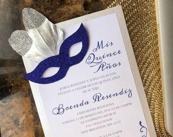 Masquerade themed quinceañera invitation