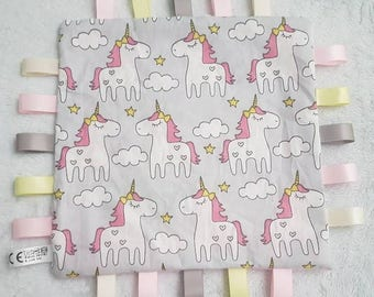 PERSONALISED Baby Girls Unicorn taggie style comforter taggy