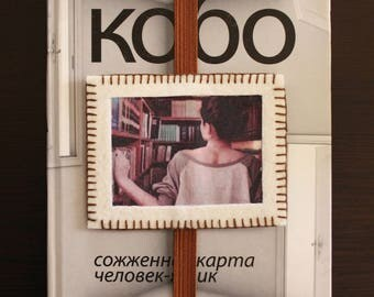 Handmade felt photo bookmark with brown elastic