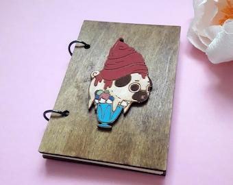 Pug wooden notebook A6 | pug art | pug gift | pug lover gift | cute pug | Pug diary | pug journal | pug notebook | pug life |