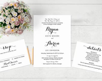 Printable Wedding Invitation, Wedding  Template, Rustic Kraft Invitation, Editable Wedding Invitation,cheap, DIY, PDF Instant Download