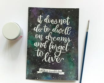 Harry Potter Dumbledore Quote on Watercolor Galaxy