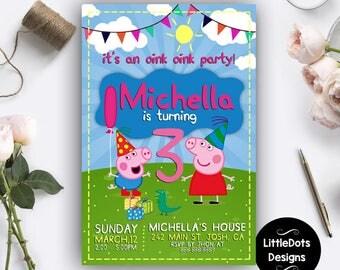 Peppa Pig Invitation, Peppa Pig Birthday, Peppa Pig Party, Peppa Pig Invites, Peppa Pig Birthday Invitation, Peppa Pig Birthday Party