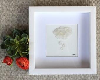 Beach Glass, Wall Art, Sea Glass Art, Cloud, Beach Art, Lake Erie Art, Lake Erie Beach Glass, Rain Cloud, Framed Art, Nature Art, Rain Drops