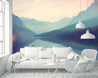 Removable Wallpaper Mural Peel & Stick Watercolor Glacier National Park