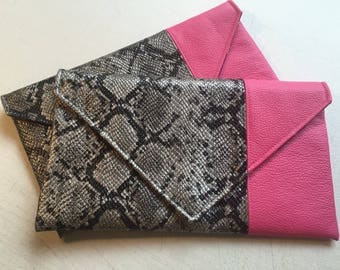 Color-blocked Faux Black/Silver Python Snakeskin -vs- Pink Faux Leather Envelope Style Clutch