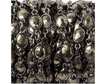 Pyrite Bezel Connector Chains, Silver Plated Bezel Chains, Pyrite Oval Bezel Connector Chains, 8x6mm, Sold By Foot (PYR-13947)