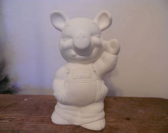 Ceramic Bisque Ready to Paint Farmer Pig