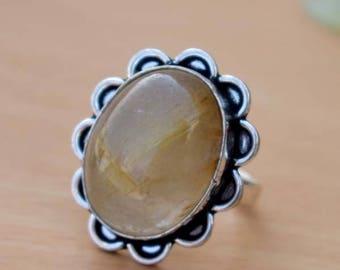 Yellow Rutile Ring- Rutile Quartz  Ring-925 Solid Sterling Silver Ring-Birthstone Ring-Handmade Jewelry Ring-Designer Yellow Ring-Gift Ring