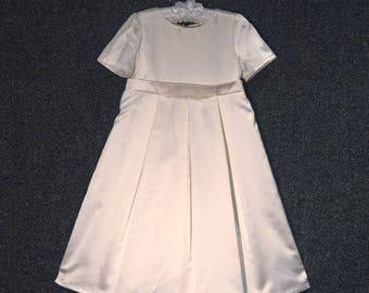 Grace beautiful handmade silk satin flowergirl dress