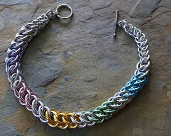 Pastel and silver chain maille bracelet