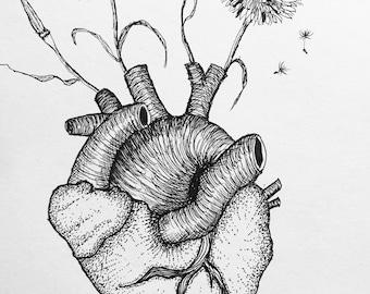 "Original Sketch   Dandelion Heart   6x4"""