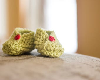 Newborn, Lady Bug Button, Baby Slippers, Color Greenery