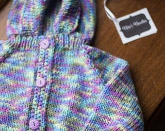 Purple Rainbow Knitted Button-up Baby Sweater