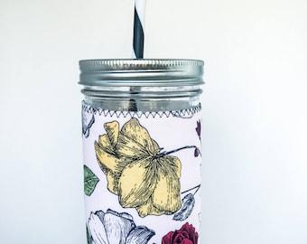 Mason Jar Tumbler // YELLOW BLUSH ROSE // Tumbler // 24oz Mason Jar Tumbler with Yellow Blush Rose Cuff // Gift for her // Reusable