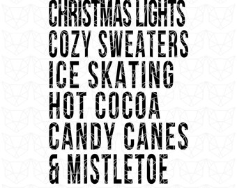 Christmas SVG, Christmas Lights SVG File, Sweaters Svg, Holiday Svg, Candy Canes and Mistletoe Cutting File, Christmas Cut File, Christmas