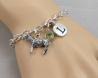 Zebra Charm Bracelet, Zebra Zoo Bracelet, Initial and Birthstone Bracelet, Silver Plated Link Charm Bracelet