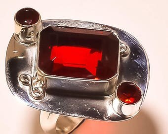 Silver and Garnet ring size 53