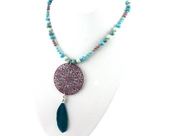 Glass Pearl Necklace in turquoise, natural springs in the boho style