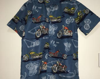 Lowes Motorbike Button Up Preloved Hawaiian Shirt Size M