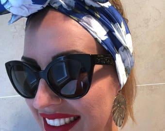 Blue floral satin headscarf