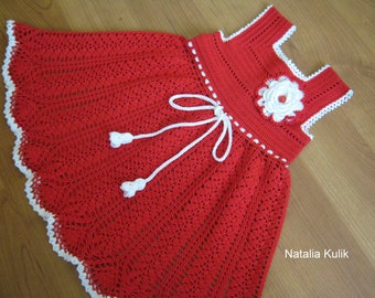 Girls dress crochet, baby dress crochet, gift on a day birth, kids crochet dress, 12-18 months old, red dress crochet,  birthday gift