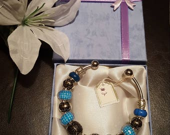 Item 2 * Women's Cuff bracelet * European Bracelet * Glow in the dark Tree of Life Charm and Beads * Silver