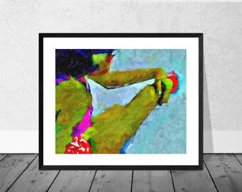 Seated Figure Print, Portrait, Portraiture, Figurative Art Print in 12 x 10 inch Mount