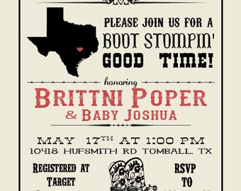 Texas/Country Themed Baby Shower Invitation