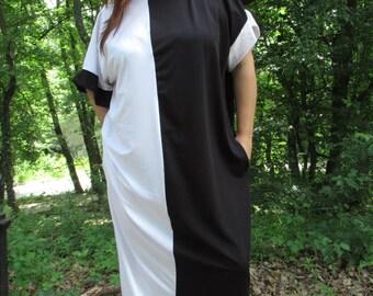 Maxi dress/mod AMANDA/ Black and White Caftan/ Plus size dress/ Kaftan/ Summer Maxi Dress/ Oversized Dress/ Cover-Up Dress/ Beach dress