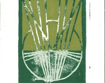 Lines Linoleum Block Print
