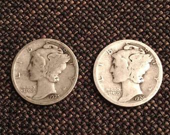 1925 And 1926 Mercury Dimes