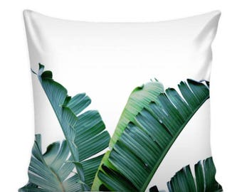 Tropical Banana Leaf Pillow Cover 16 X 16