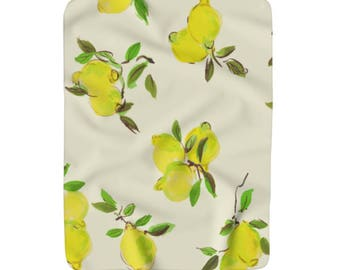 Lemon Sherpa Fleece Throw Blanket