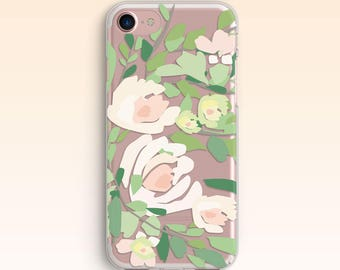 Floral iPhone 7 Case iPhone 5s Case iPhone 6 Flower Cover iPhone 6s Plus Clear case for Samsung S7 Tropic case for Galaxy S6 for S5 034
