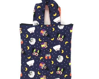 Kids Trick or Treat Bag| Kids Tote Bag | Zipper | Kids Bag |  Small Zipper Bag | Fabric Tote Bag | Toy Bag | Halloween | Halloween Owls