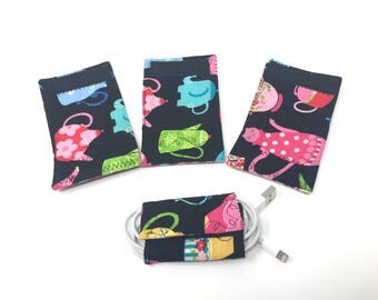 Cord Keeper | Earphone Organizer | Cord Organizer Set | Entryway Organizer | Cord Organizers | iPhone Cord Holder | Fabric | Cable Organizer