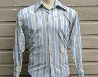 Vintage 70s Mens Button-Down Striped Shirt