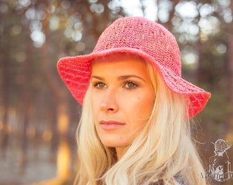 Pink Knitted Cottonwool Summer Hat