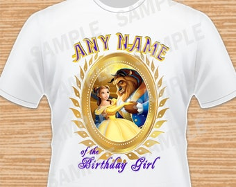 Any Name for Design. Beauty and the Beast. Princess Belle. Disney. Digital File. Personalized Family Shirts. Iron on Transfer. Printable.