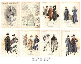 Collage sheets digital downloads women vintage postcards templates files Paris printables illustration papers scrapbooking cards instant JPG