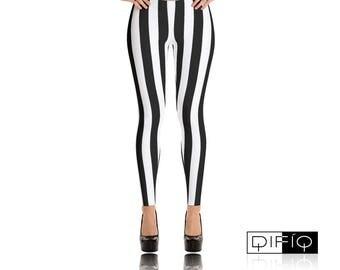 Beetle Juice | Black | White | Striped Leggings