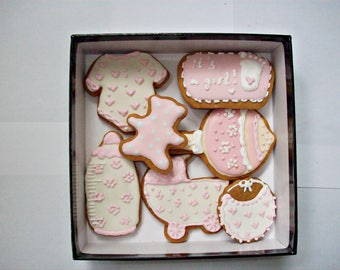 set of decorated cookies, baby girl shower gift