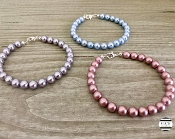 Swarovski Pearls Bracelets with Silver Plated Clasp