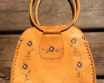 Adorable deerhide purse with painted flowers